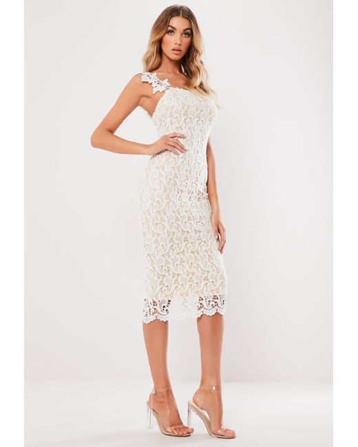 741d67cc5c6a Lyst - Missguided White One Shoulder Crochet Midi Dress in White