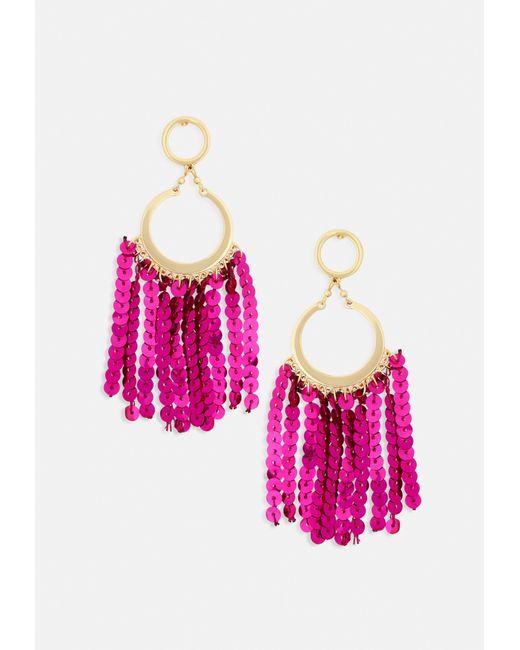 Missguided - Metallic Gold Drop Hoop Pink Sequin Tassel Earrings - Lyst