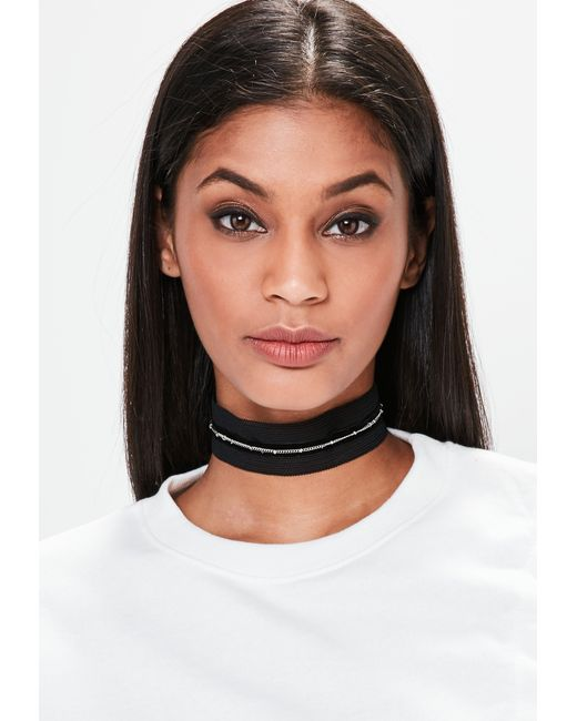 Missguided | Black Mesh Chain Trim Woven Choker Necklace | Lyst