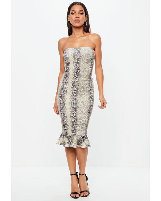 Missguided - Gray Grey Snake Print Bandeau Flippy Hem Midi Dress - Lyst