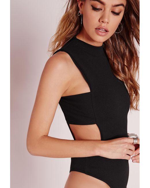 missguided tab side bodysuit black in black save 26 lyst. Black Bedroom Furniture Sets. Home Design Ideas