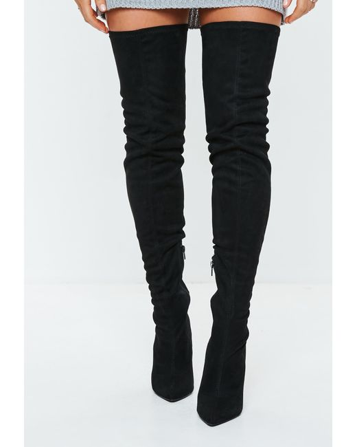 c47902d3f0bb ... Missguided - Black Over The Knee Flared Heel Boots - Lyst ...