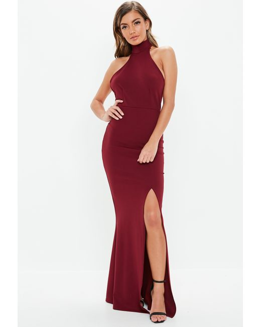 87408d39fc3 Lyst - Missguided Burgundy Choker Maxi Dress in Red - Save 69%