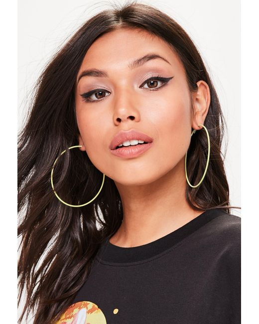 Missguided | Yellow Hooped Earrings | Lyst
