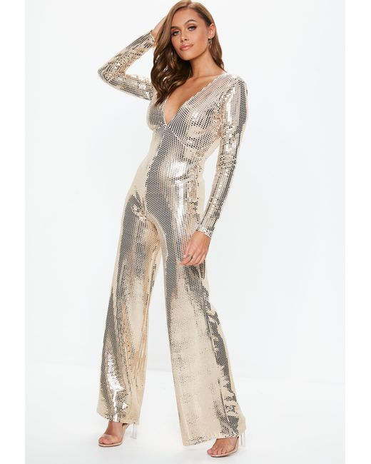 7922d43bba ... Missguided - Metallic Gold Plunge Sequin Jumpsuit - Lyst