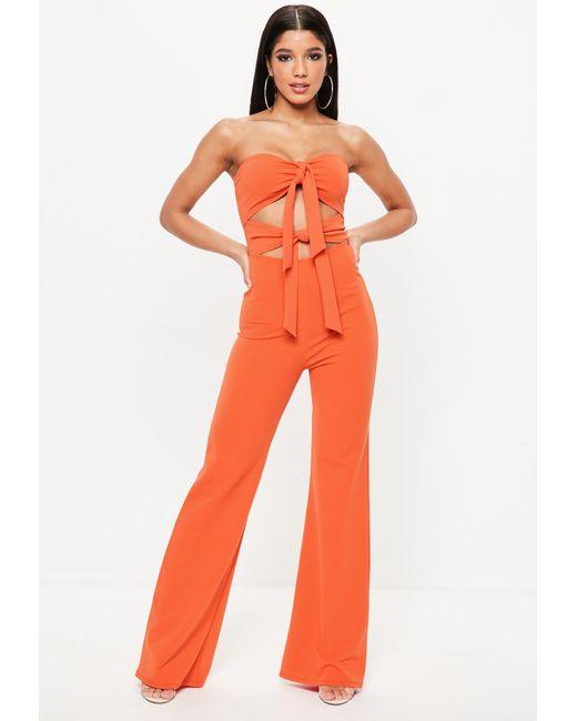 05928852e308 Missguided Orange Tie Front Jumpsuit in Orange - Lyst