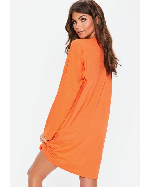fb4ea829a1 ... Missguided - Orange Long Sleeve Ring Zip Oversized T Shirt Dress - Lyst  ...