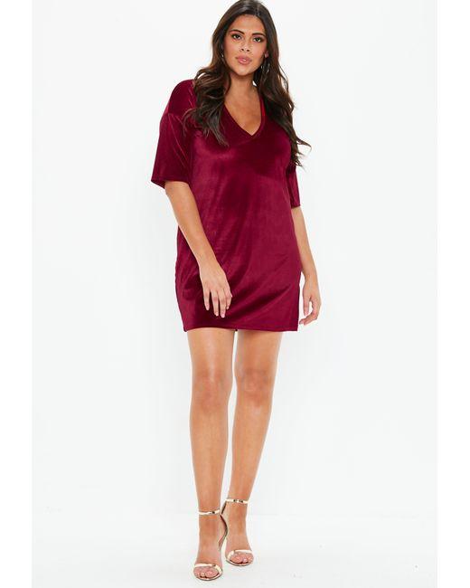 f6a6edae918b5 ... Missguided - Red Plus Size Burgundy V Neck Velvet T Shirt Dress - Lyst  ...