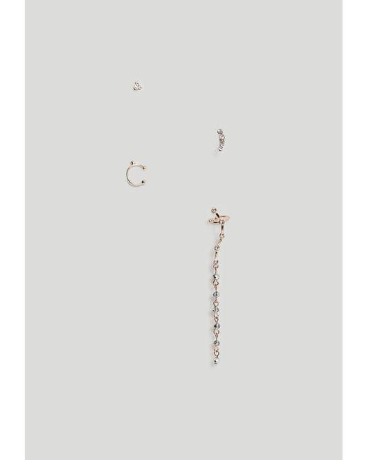 Missguided | Metallic Rose Gold Diamante Earrings Set | Lyst