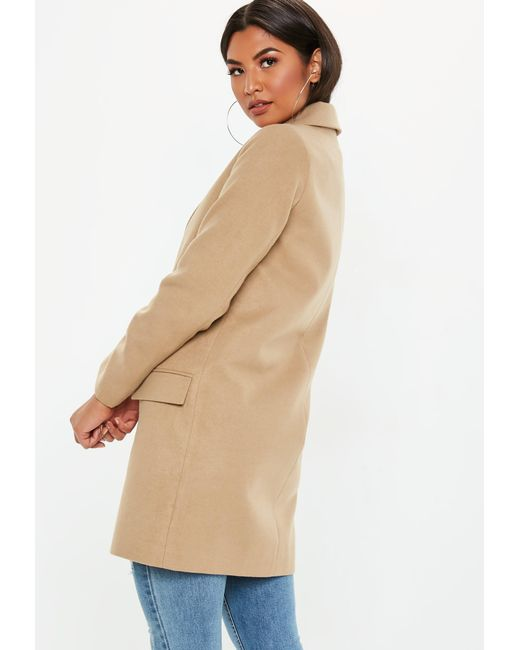 d76d4875fa470e ... Missguided - Natural Camel Button Front Slim Coat - Lyst