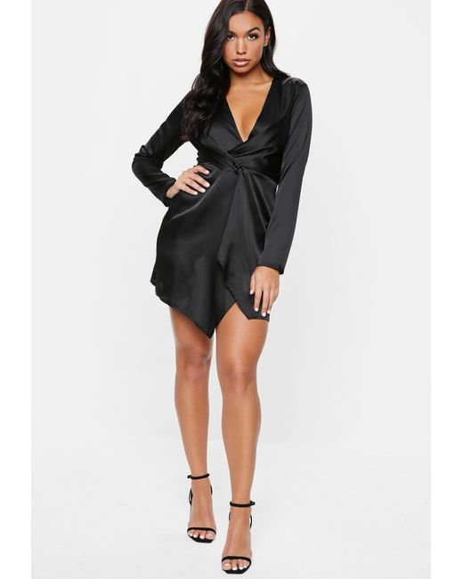 6e06ef0758 Lyst - Missguided Black Satin Wrap Mini Dress in Black