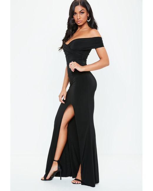 Lyst - Missguided Black Bardot Wrap Slit Slinky Maxi Dress in Black 9be33ec47