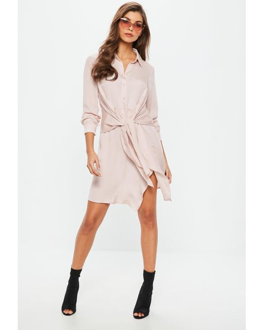 Lyst - Missguided Pink Tie Waist Shirt Dress in Pink 07a05486a