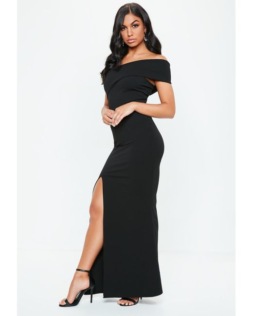 0ea92ddccc Lyst - Missguided Black One Shoulder Maxi Dress in Black