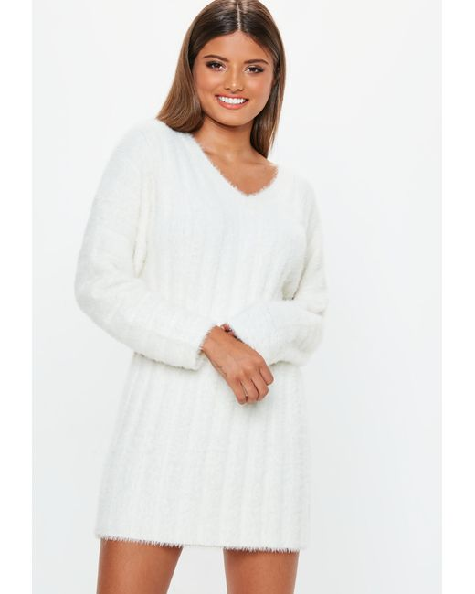 Missguided White Fluffy Ribbed Knitted Jumper Dress in White - Lyst 1cbab932d