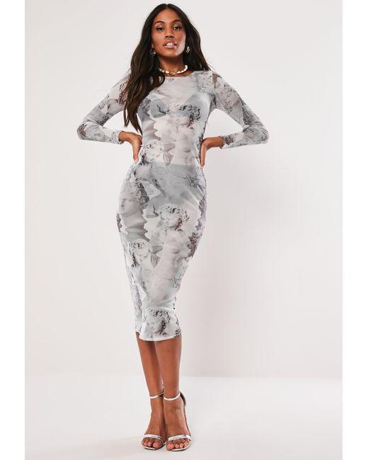 f5bd36a21543 Missguided - Gray Grey Statue Print Mesh Midi Dress - Lyst ...