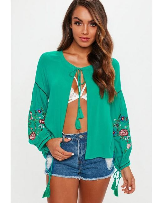 Missguided - Green Floral Embroidered Sleeve Tie Front Blouse - Lyst