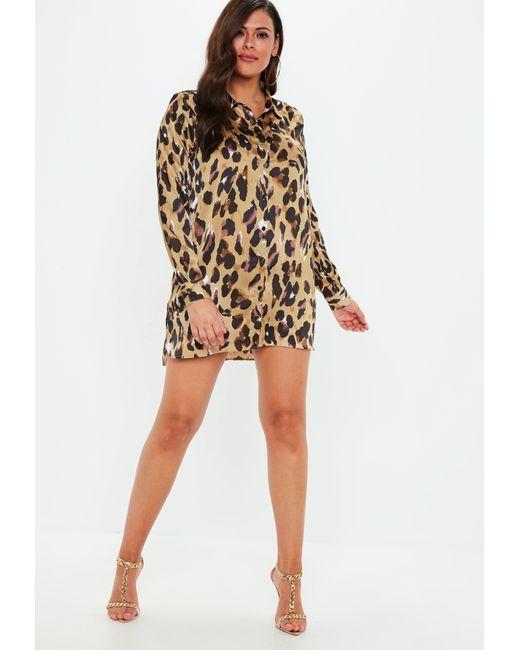 f82c634cb5b ... Missguided - Brown Plus Size Leopard Print Satin Shirt Dress - Lyst ...
