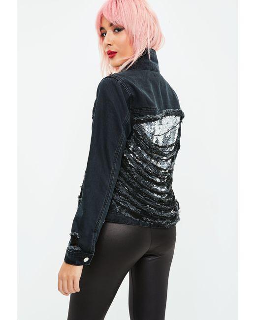 Missguided | Black Denim Metallic Shredded Back Jacket | Lyst