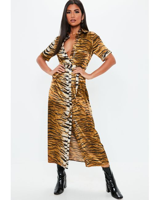 Missguided - Metallic Gold Tiger Print Midaxi Shirt Dress - Lyst ... 14b6d5479