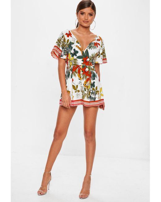 261a02d7cdd ... Missguided - White Printed Kimono Sleeve Playsuit - Lyst ...