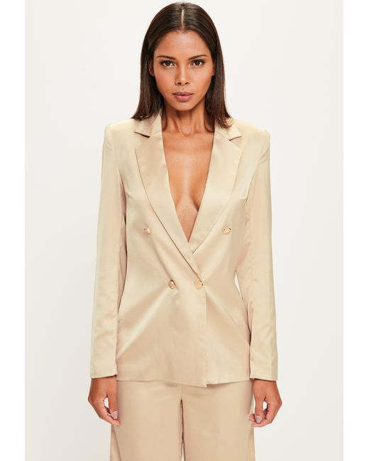 Missguided   Natural Peace + Love Nude Long Sleeve Double Breasted Blazer   Lyst