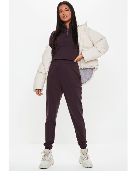 c2d0c54c105 ... Missguided - Tall Brown Zip Neck Sweatshirt - Lyst ...