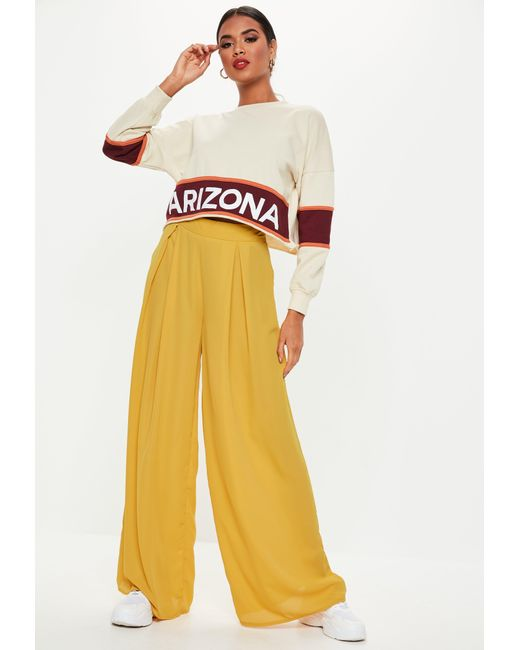 c76a8ed74316b7 ... Missguided - Yellow Mustard Pleat Front Wide Leg Trousers - Lyst ...