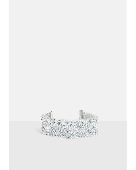 Missguided - Metallic Silver Rhinestone Strap Bracelet - Lyst