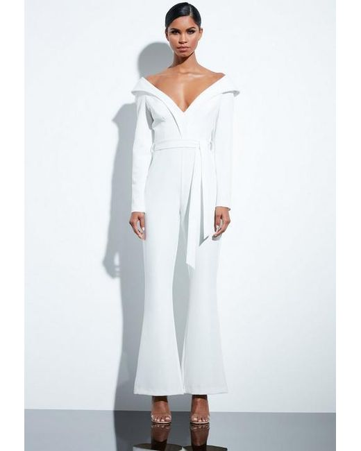 b271e29cd396 Missguided Peace + Love White Bardot Flared Jumpsuit in White - Lyst