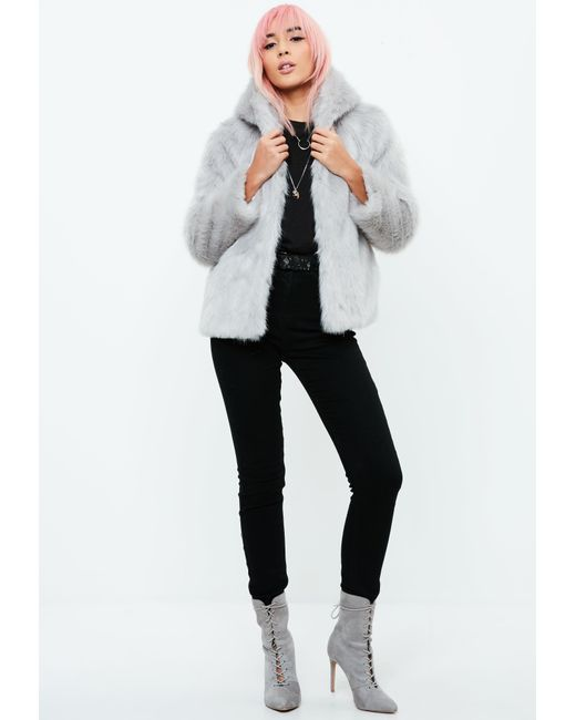 7afd815e5411 ... Missguided - Gray Faux Fur Hooded Coat - Lyst ...