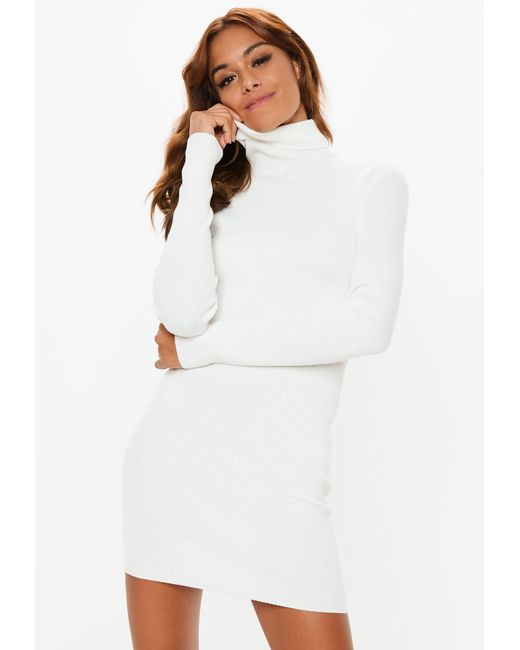 b46acddeeb87a Missguided White Roll Neck Ribbed Knitted Mini Dress in White - Lyst