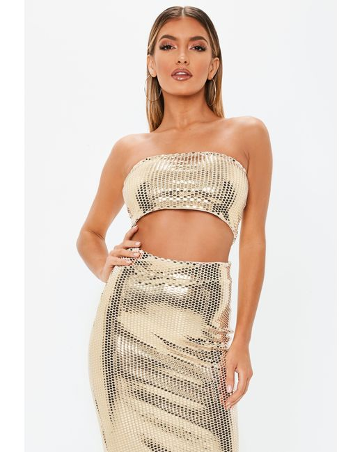 071cc382fb015b Missguided - Metallic Gold Sequin Bandeau Crop Top - Lyst ...