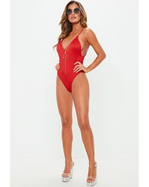 9506ecf82a ... Missguided - Red Ribbed Zipper Front High Leg Swimsuit - Lyst ...