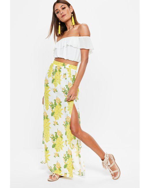 Missguided - Yellow Floral Print Split Maxi Skirt - Lyst