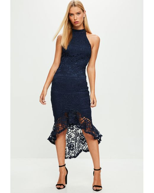 Lyst - Missguided Navy Lace High Neck Fishtail Midi Dress in Blue ...