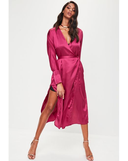 Missguided | Pink Tie Belt Wrap Duster Jacket | Lyst