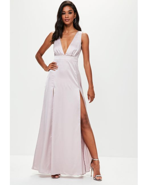 Missguided - Gray Grey Plunge Double Split Front Satin Maxi Dress - Lyst