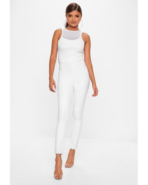 181704d08c9b ... Missguided - White Fishnet Top Jumpsuit - Lyst ...