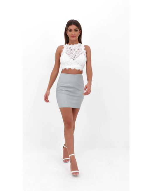 64a6776ef57 Missguided Petite White Cornelli Lace Crop Top in White - Lyst