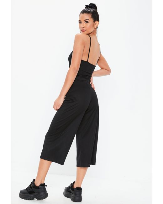 5a1761971a9 ... Missguided - Black Rib Horn Button Culotte Jumpsuit - Lyst ...