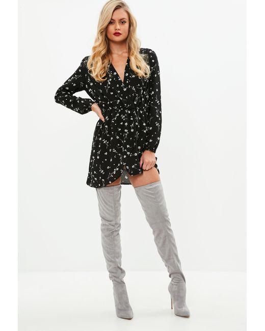 Missguided - Black Wrap Front Floral Skater Dress - Lyst