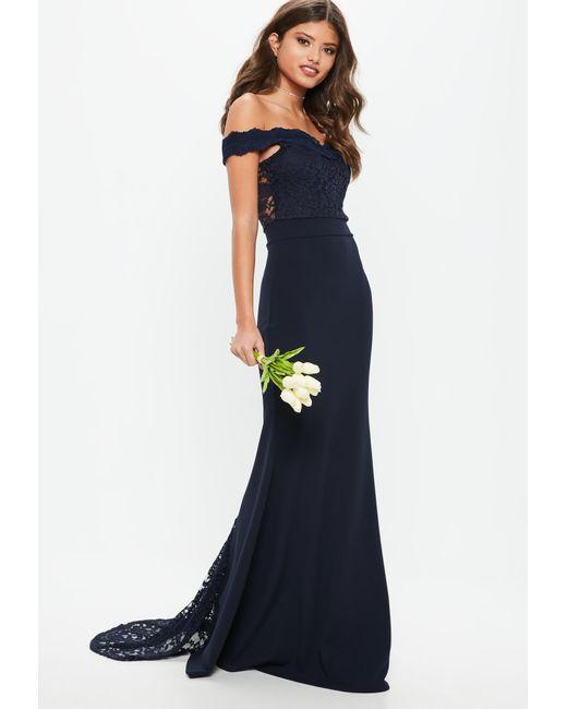 374cef0f496 Missguided - Blue Bridesmaid Navy Bardot Lace Insert Fishtail Maxi Dress -  Lyst ...