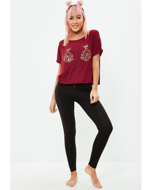 Missguided - Red Bauble Leggings Pajamas Set - Lyst
