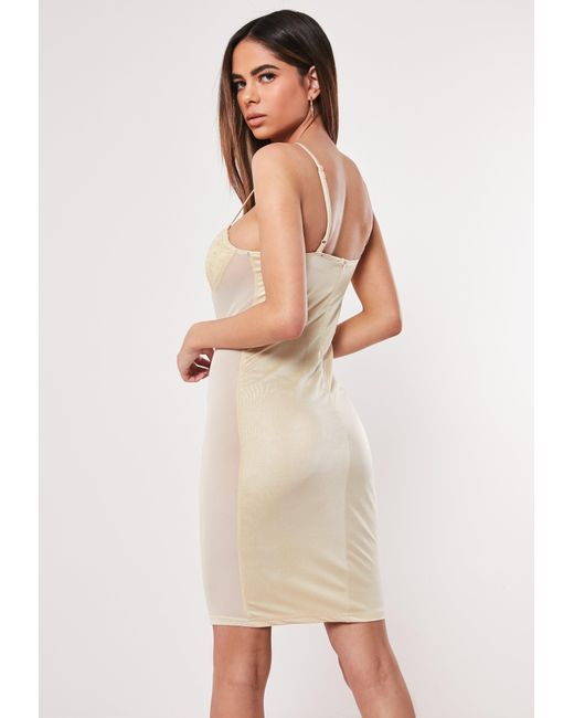982e3b8d3c6 ... Missguided - Natural Nude Lace Cup Satin Bodycon Mini Dress - Lyst ...