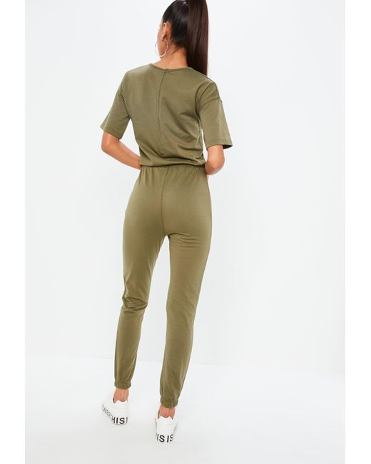 5559f0421a2 ... Missguided - Green Khaki Slouch Drawstring Short Sleeve Jumpsuit - Lyst  ...