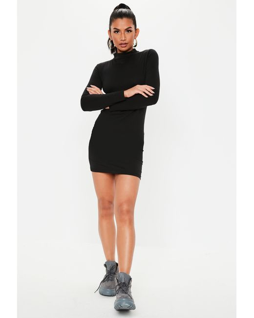 c294991c635 ... Missguided - Black High Neck Curve Hem Mini Dress - Lyst ...