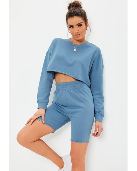 67fac06b066d8e Lyst - Missguided Blue Crop Sweater And Cycling Shorts Co Ord Set in ...