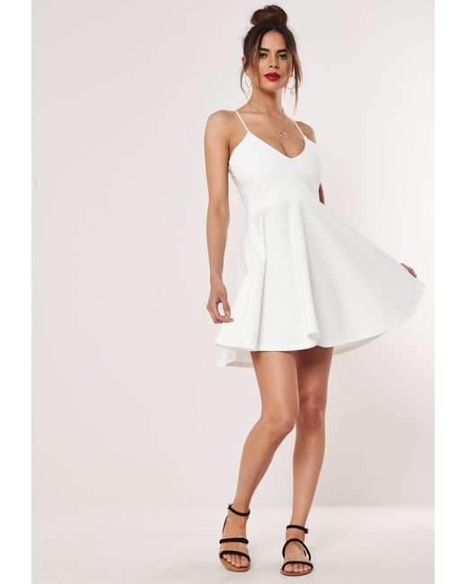 c94726060f96 ... Missguided - White Strappy Skater Mini Dress - Lyst ...