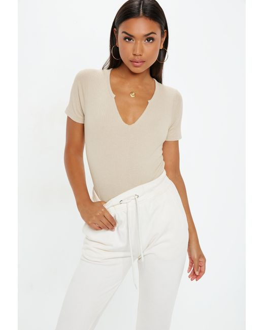 Missguided - Natural Sand Notch Neck Ribbed Bodysuit - Lyst ... 29498b8e3